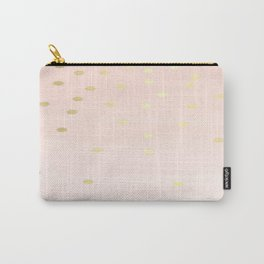 Pink Gold Confetti Polka Dots Brushstruck Carry-All Pouch