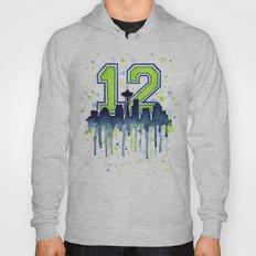Seattle 12th Man Art Skyline Watercolor Hoody