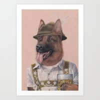 german shepherd Art Prints featuring German Shepherd by Rachel Waterman