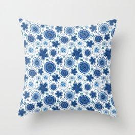Organic Medallions - Blue Throw Pillow