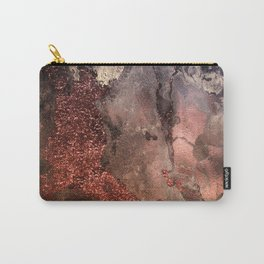 Copper Glitter Stone and Ink Abstract Gem Glamour Marble Carry-All Pouch