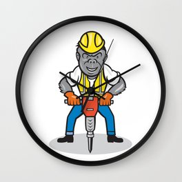 Gorilla Construction Jackhammer Cartoon Wall Clock