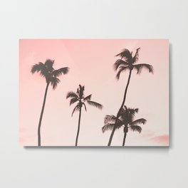 Pink Palm Trees Metal Print