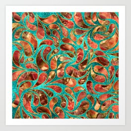 Gold Framed Red Gemstone  Paisley pattern on teal Art Print