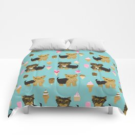 Yorkie ice cream gifts yorkshire terrier dog lover pet friendly patterns minty Comforters