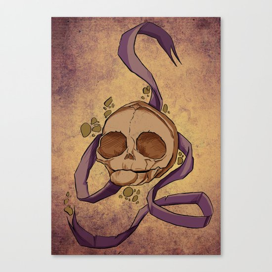 Skull and ribbon  Canvas Print