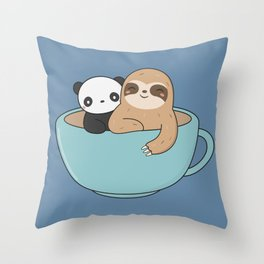 Kawaii Cute Panda and Sloth Throw Pillow