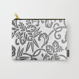 Gray Ombre Japanese Leaf Pattern Carry-All Pouch