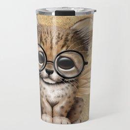 Cheetah Cub with Fairy Wings Wearing Glasses Travel Mug