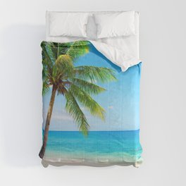 palm tree by the beach Comforters