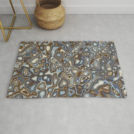 Paper Cut Craters - Slate, Denim Blue, Brown, Ivory Rug