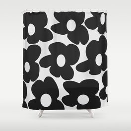 Black Retro Flowers White Background #decor #society6 #buyart Shower Curtain