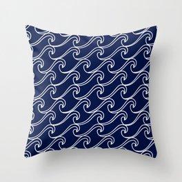 Rough Sea Pattern - white on navy blue Throw Pillow