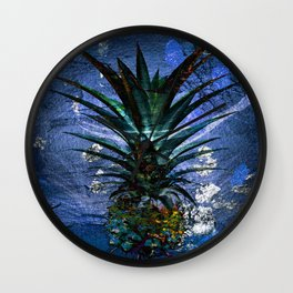 Silver Leaf Tropical Pineapple #buyart Wall Clock