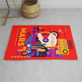 NASA Mars The Red Planet Retro Poster Futuristic Best Quality Rug