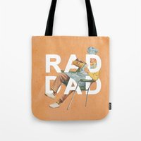 dad Tote Bags featuring Rad Dad by Heather Landis