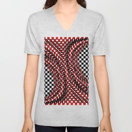 black white red 4 Unisex V-Neck