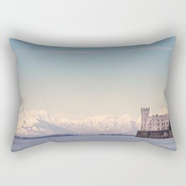 Miramar Castle with Italian Alps in background. Trieste Italy Rectangular Pillow