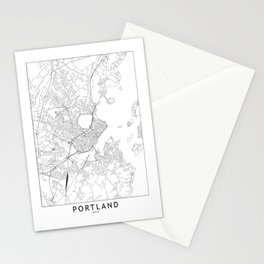 Portland Maine White Map Stationery Cards
