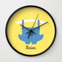 minion Wall Clocks featuring Minion by Jane Mathieu
