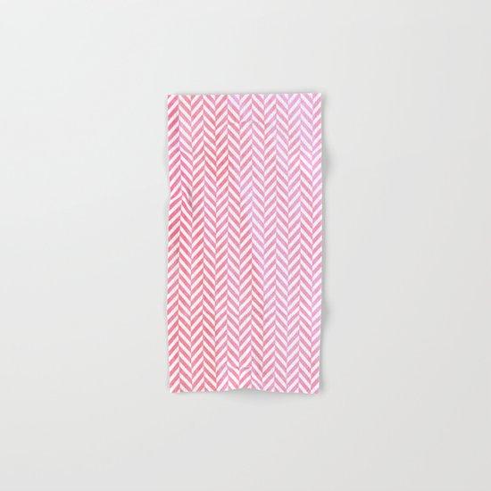 Watercolor Chevron pattern - pink on white Hand & Bath Towel