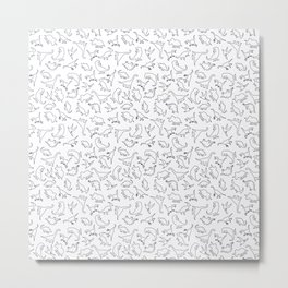 Dinosaurs Outline Pattern Metal Print