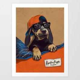 Hipster Puppy Art Print