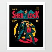 tintin Art Prints featuring Sherlock Comic by harebrained