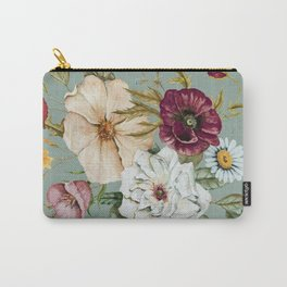 Colorful Wildflower Bouquet on Blue Carry-All Pouch