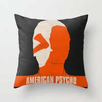 american psycho Throw Pillows featuring American Psycho by Bill Pyle