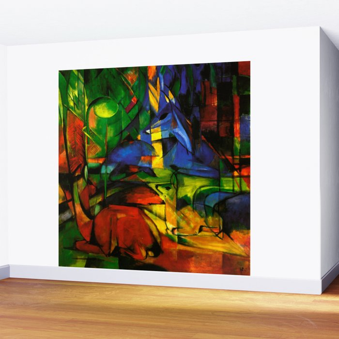 Deers in Wood by Franz Marc Wall Mural