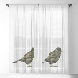 olive tree sparrow Sheer Curtain