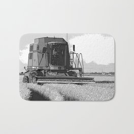 Black & White Harvesting Equipment Pencil Drawing Photo Badematte
