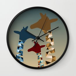 Abstract Colored Giraffe Family Wall Clock