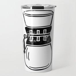 Chemex coffee maker linocut black and white kitchen food restaurant cafe art Travel Mug