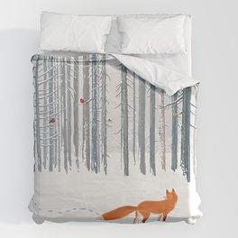 Fox in the white snow winter forest illustration Duvet Cover