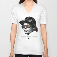 lakers V-neck T-shirts featuring Eazy Muthafuckin E by Rogemil Velasco