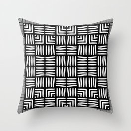 Geometric Black and White Tribal-Inspired Woven Pattern Throw Pillow