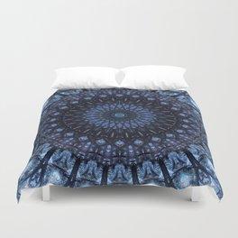 Dark and light blue mandala Duvet Cover