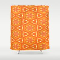 Orange and Yellow Stars and Hearts 9055 Shower Curtain