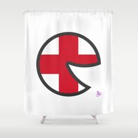 england Shower Curtains featuring England Smile by onejyoo