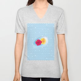 Hibiscus reflected in a drop of wave_YR Unisex V-Neck