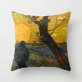 Sower With Setting Sun  - Van Gogh Throw Pillow