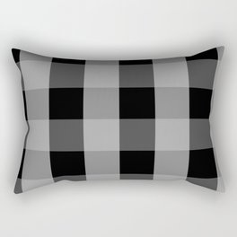 Large Grey on Black Gingham Squares | Rectangular Pillow
