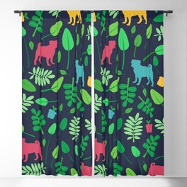 Colorful Pugs with Leaves - Pattern Blackout Curtain