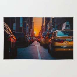 New York City Taxi Sunset (Color) Rug