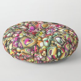 Colorful Abstract 3D Shapes Floor Pillow