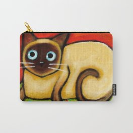 Siamese cat nervous siamese kitty on a cherry pillow art by Tascha Carry-All Pouch