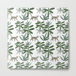 Cats and tropical plants in the jungle Metal Print