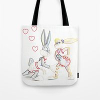 space jam Tote Bags featuring Space Jam Bugs & Lola by Beastie Toyz